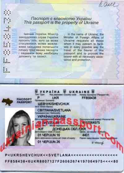 Valid Ukrainian passport