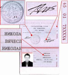 Numbering Description of the Passport Blank of the Citizen of the Russian Federation