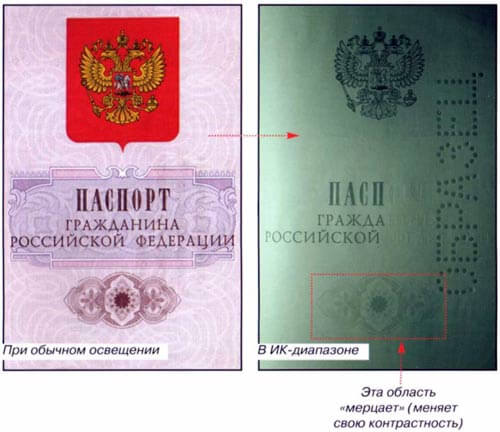 Infra-Red Security Elements russian passport