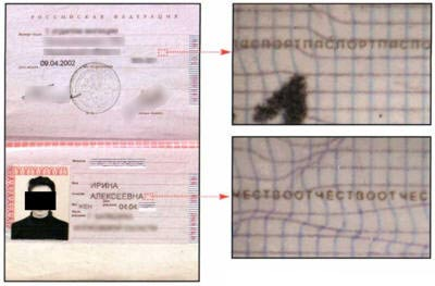 - typographic printing or micro-perforation russian passport