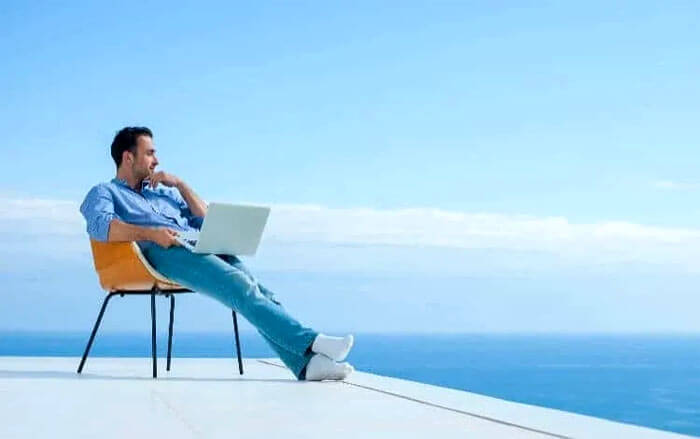 relaxed man after order a premium package